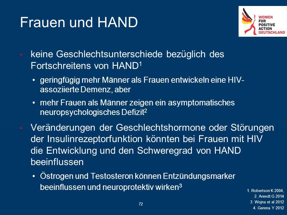 72 Frauen und HAND keine Geschlechtsunterschiede bezüglich des Fortschreitens von HAND 1 geringfügig mehr Männer als Frauen entwickeln eine HIV- assoz