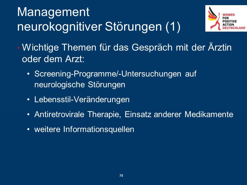74 Management neurokognitiver Störungen (1) Wichtige Themen für das Gespräch mit der Ärztin oder dem Arzt: Screening-Programme/-Untersuchungen auf neu