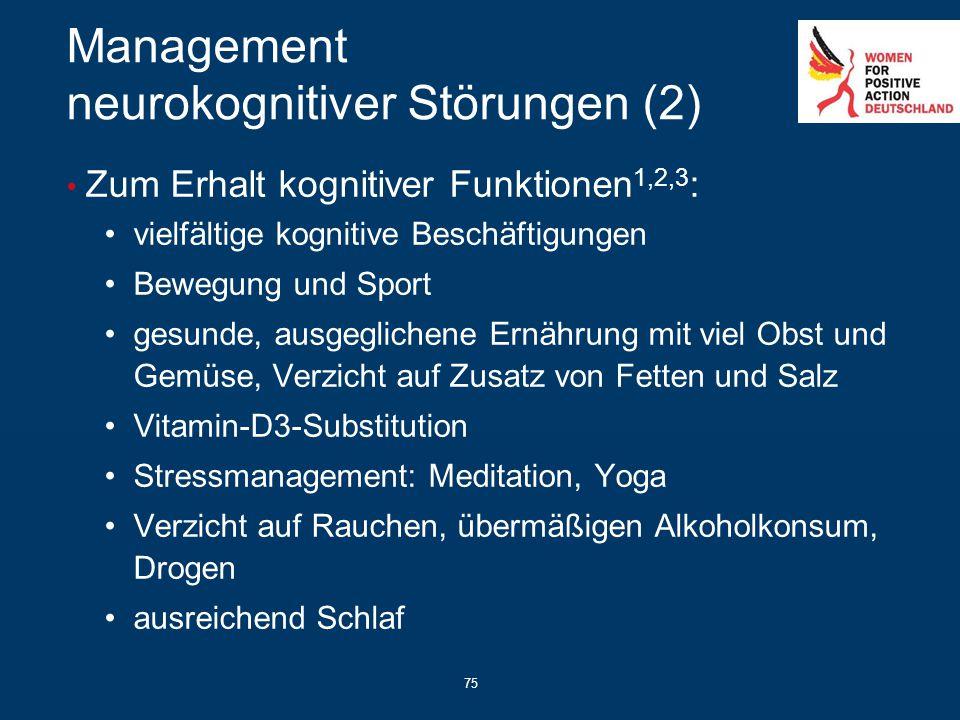 75 Management neurokognitiver Störungen (2) Zum Erhalt kognitiver Funktionen 1,2,3 : vielfältige kognitive Beschäftigungen Bewegung und Sport gesunde,