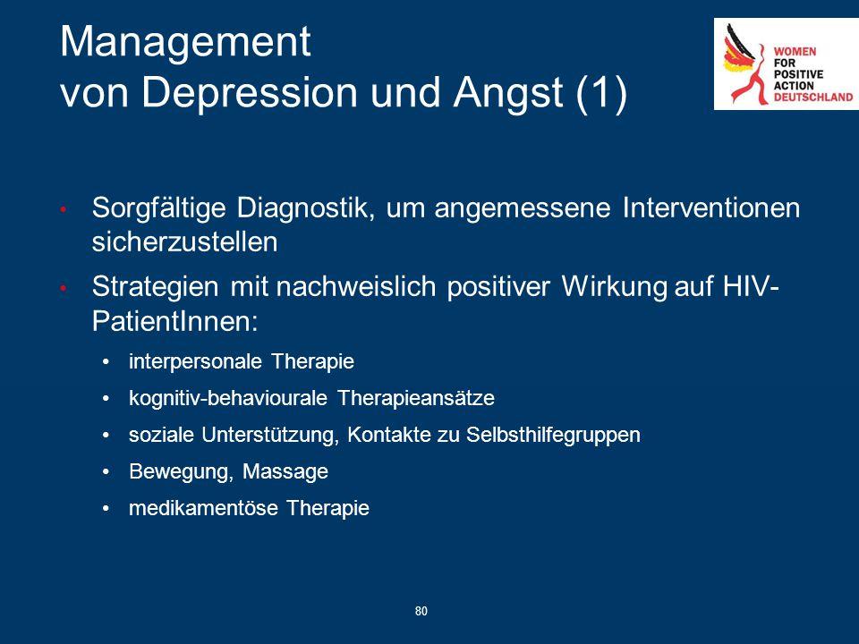 80 Management von Depression und Angst (1) Sorgfältige Diagnostik, um angemessene Interventionen sicherzustellen Strategien mit nachweislich positiver