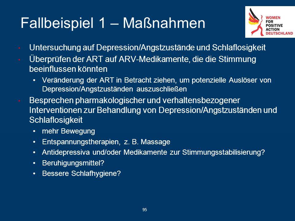 95 Fallbeispiel 1 – Maßnahmen Untersuchung auf Depression/Angstzustände und Schlaflosigkeit Überprüfen der ART auf ARV-Medikamente, die die Stimmung b