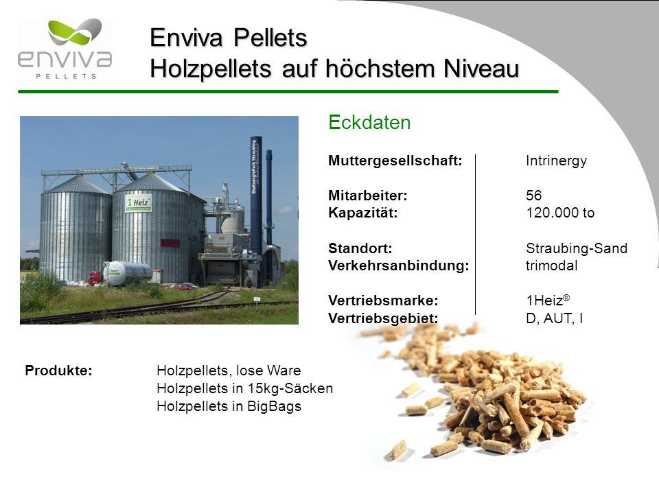 Enviva Pellets Holzpellets auf höchstem Niveau Eckdaten Muttergesellschaft: Intrinergy Mitarbeiter:56 Kapazität:120.000 to Standort:Straubing-Sand Ver