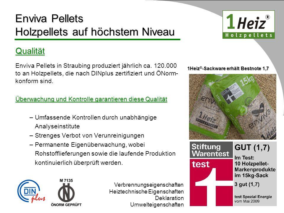 Qualität Enviva Pellets in Straubing produziert jährlich ca. 120.000 to an Holzpellets, die nach DINplus zertifiziert und ÖNorm- konform sind. Überwac
