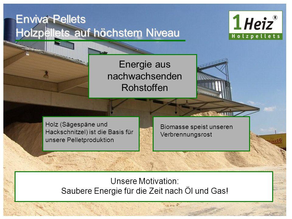 Enviva Pellets Holzpellets auf höchstem Niveau Energie aus nachwachsenden Rohstoffen Holz (Sägespäne und Hackschnitzel) ist die Basis für unsere Pelle