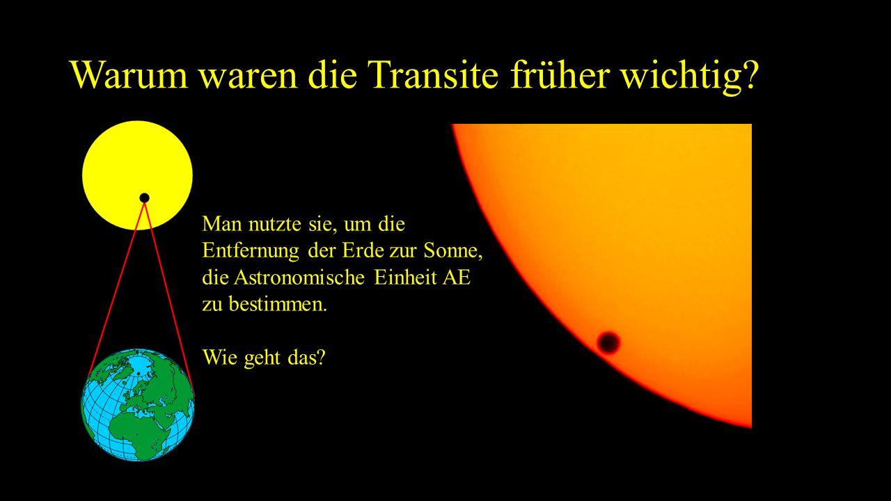 Warum waren die Transite früher wichtig? Man nutzte sie, um die Entfernung der Erde zur Sonne, die Astronomische Einheit AE zu bestimmen. Wie geht das