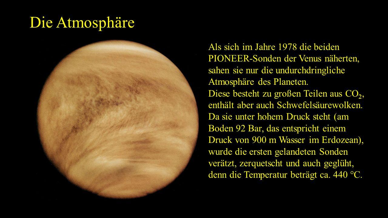Die Atmosphäre Als sich im Jahre 1978 die beiden PIONEER-Sonden der Venus näherten, sahen sie nur die undurchdringliche Atmosphäre des Planeten. Diese