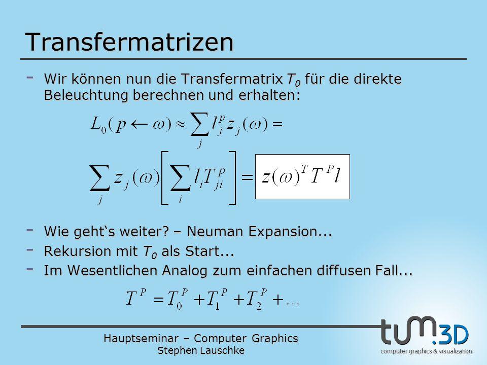 Hauptseminar – Computer Graphics Stephen Lauschke computer graphics & visualization - Wir können nun die Transfermatrix T 0 für die direkte Beleuchtun