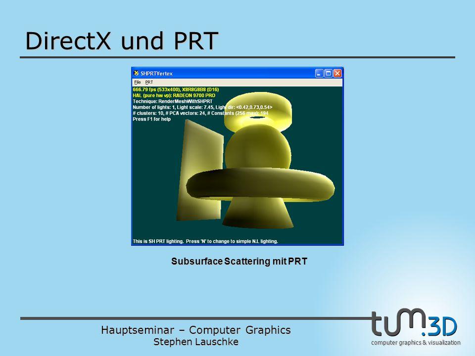 Hauptseminar – Computer Graphics Stephen Lauschke computer graphics & visualization DirectX und PRT Subsurface Scattering mit PRT