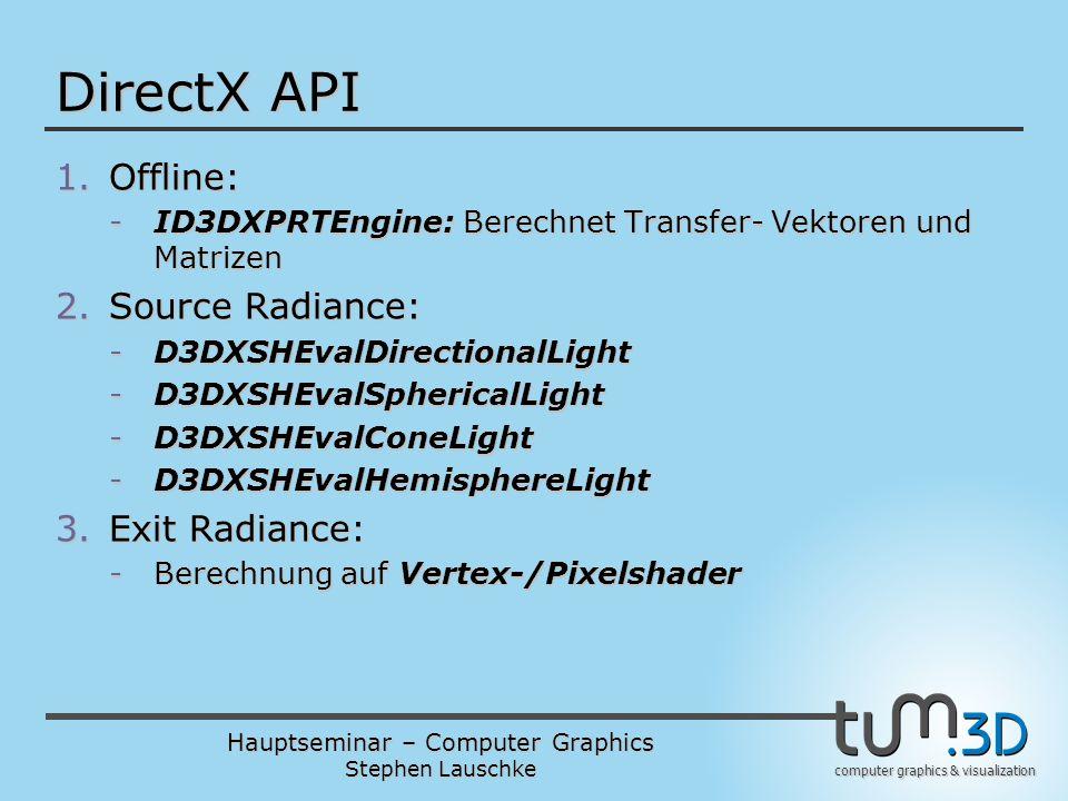Hauptseminar – Computer Graphics Stephen Lauschke computer graphics & visualization DirectX API 1.Offline: -ID3DXPRTEngine: Berechnet Transfer- Vektor