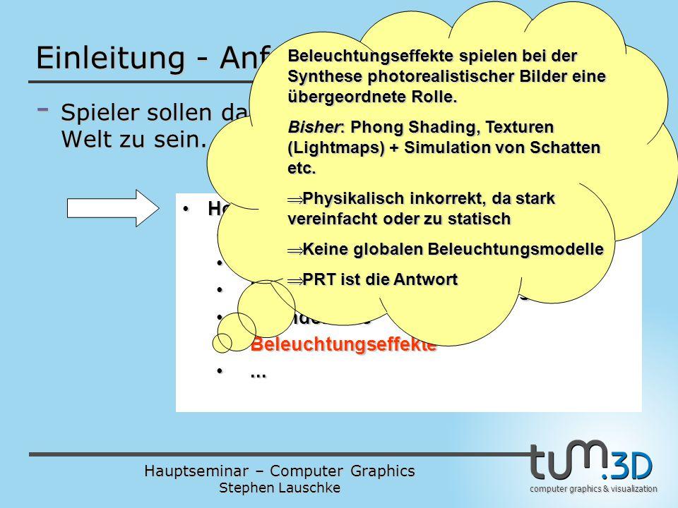 Hauptseminar – Computer Graphics Stephen Lauschke computer graphics & visualization Einleitung - Anforderungen an Spiele - Spieler sollen das Gefühl h