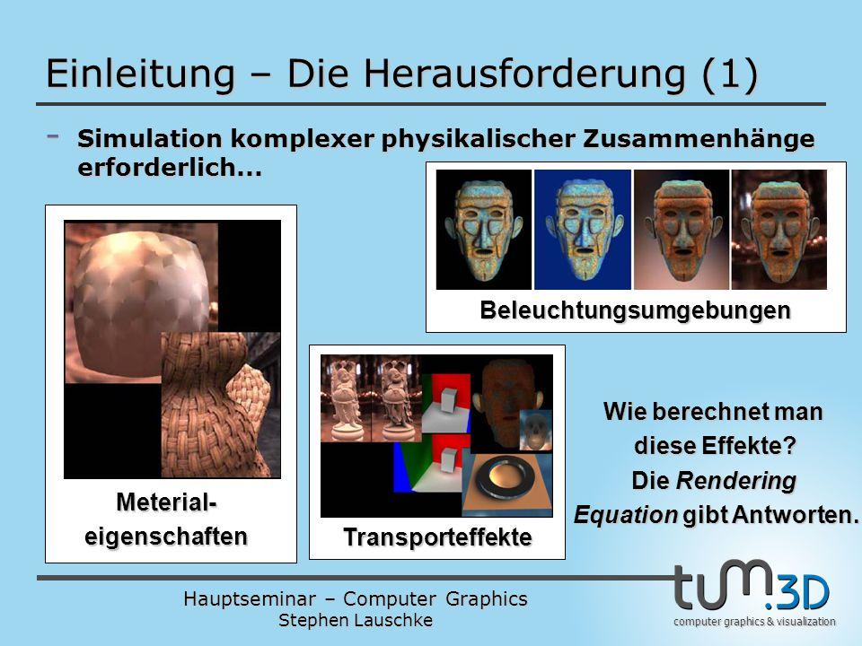 Hauptseminar – Computer Graphics Stephen Lauschke computer graphics & visualization Einleitung – Die Herausforderung (1) - Simulation komplexer physik