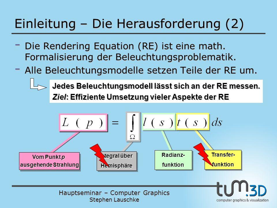 Hauptseminar – Computer Graphics Stephen Lauschke computer graphics & visualization Einleitung – Die Herausforderung (2) - Die Rendering Equation (RE)