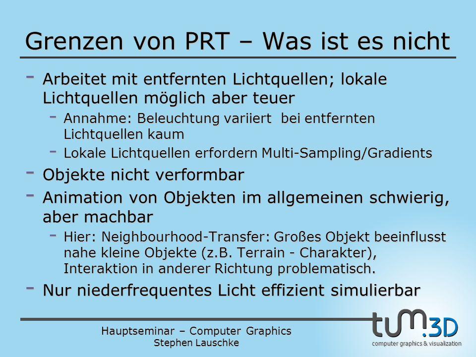 Hauptseminar – Computer Graphics Stephen Lauschke computer graphics & visualization Grenzen von PRT – Was ist es nicht - Arbeitet mit entfernten Licht
