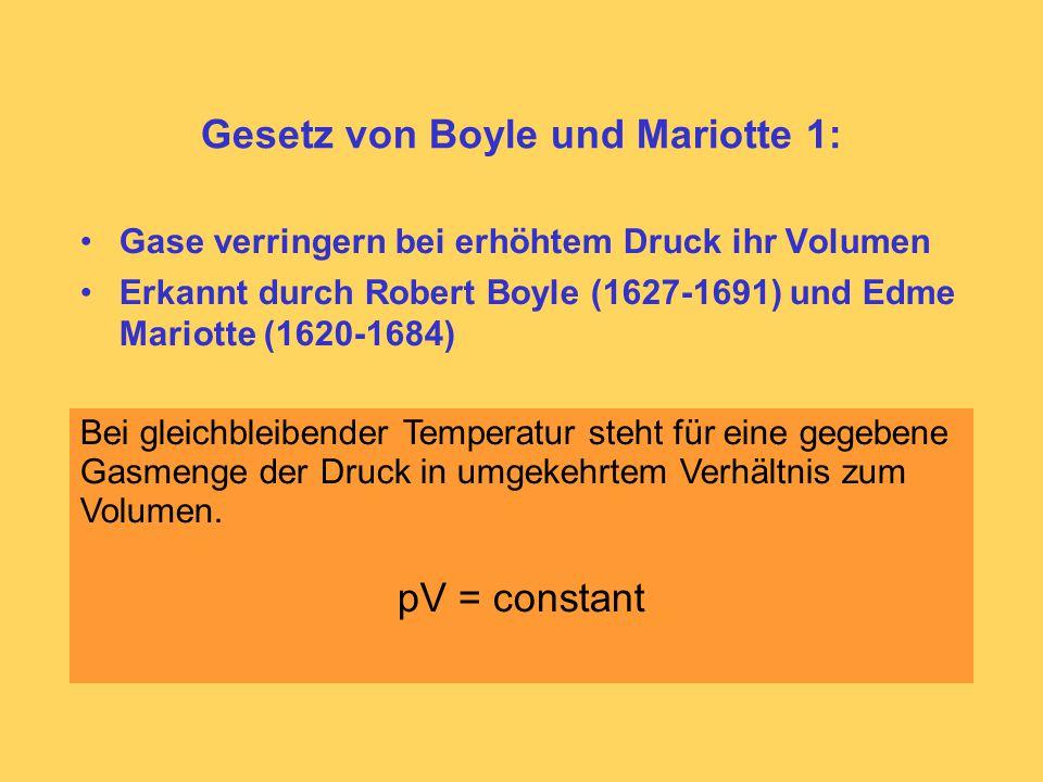 Gesetz von Boyle und Mariotte 1: Gase verringern bei erhöhtem Druck ihr Volumen Erkannt durch Robert Boyle (1627-1691) und Edme Mariotte (1620-1684) Bei gleichbleibender Temperatur steht für eine gegebene Gasmenge der Druck in umgekehrtem Verhältnis zum Volumen.