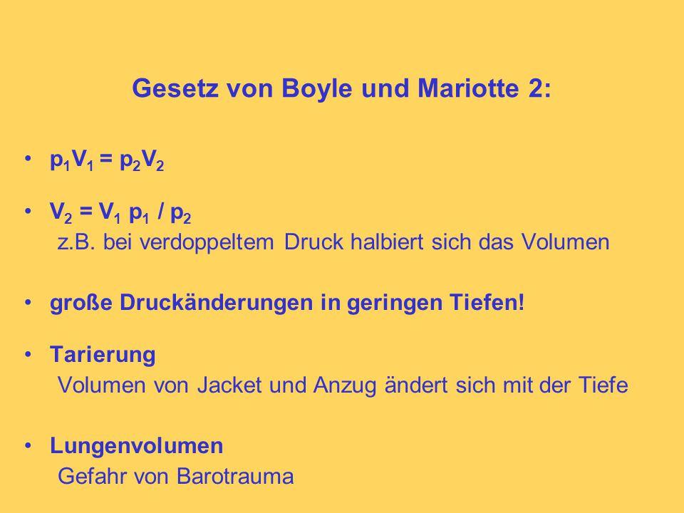 Gesetz von Boyle und Mariotte 2: p 1 V 1 = p 2 V 2 V 2 = V 1 p 1 / p 2 z.B.