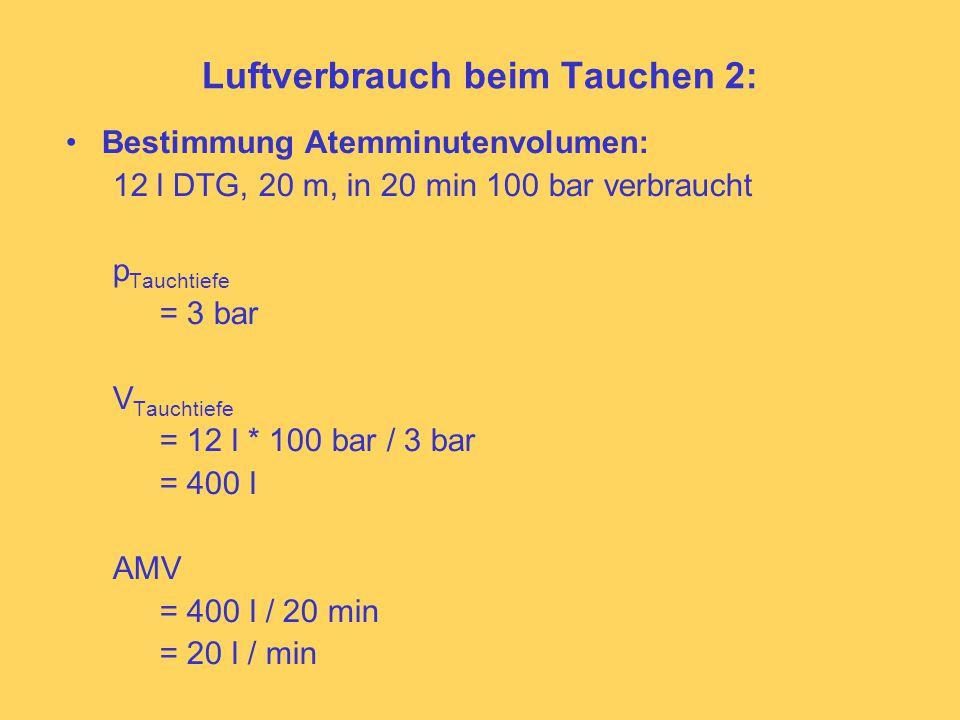 Luftverbrauch beim Tauchen 2: Bestimmung Atemminutenvolumen: 12 l DTG, 20 m, in 20 min 100 bar verbraucht p Tauchtiefe = 3 bar V Tauchtiefe = 12 l * 100 bar / 3 bar = 400 l AMV = 400 l / 20 min = 20 l / min