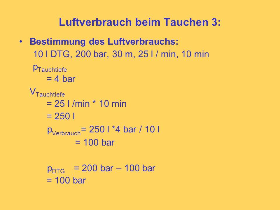 Luftverbrauch beim Tauchen 3: Bestimmung des Luftverbrauchs: 10 l DTG, 200 bar, 30 m, 25 l / min, 10 min p Tauchtiefe = 4 bar V Tauchtiefe = 25 l /min * 10 min = 250 l p Verbrauch = 250 l *4 bar / 10 l = 100 bar p DTG = 200 bar – 100 bar = 100 bar