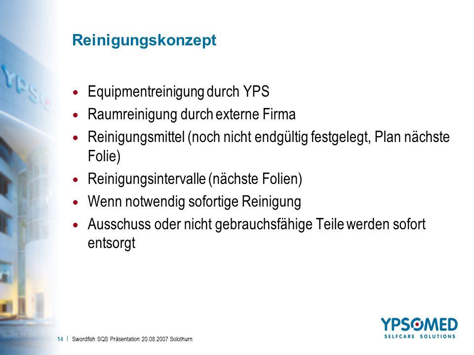 Swordfish SQS Präsentation 20.08.2007 Solothurn 14 Reinigungskonzept Equipmentreinigung durch YPS Raumreinigung durch externe Firma Reinigungsmittel (noch nicht endgültig festgelegt, Plan nächste Folie) Reinigungsintervalle (nächste Folien) Wenn notwendig sofortige Reinigung Ausschuss oder nicht gebrauchsfähige Teile werden sofort entsorgt