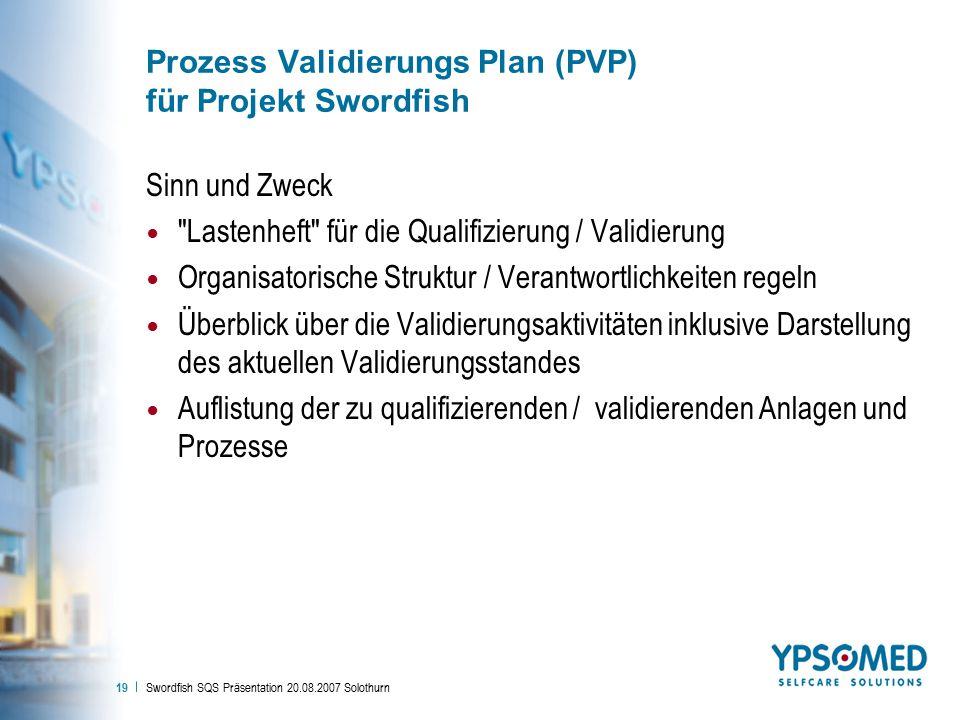 Swordfish SQS Präsentation 20.08.2007 Solothurn 19 Prozess Validierungs Plan (PVP) für Projekt Swordfish Sinn und Zweck