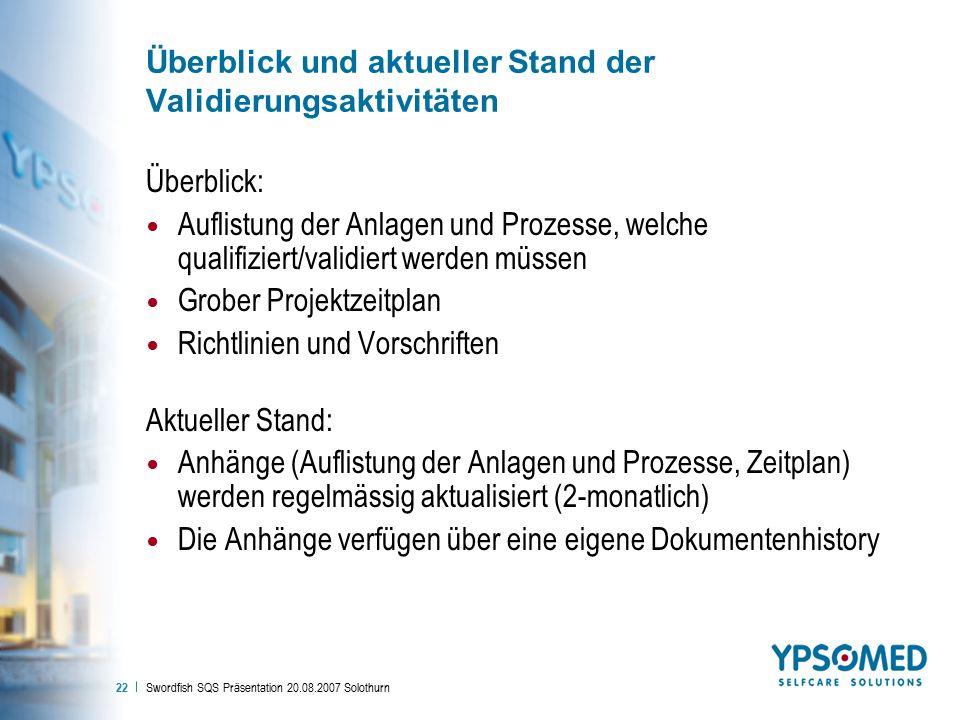 Swordfish SQS Präsentation 20.08.2007 Solothurn 22 Überblick und aktueller Stand der Validierungsaktivitäten Überblick: Auflistung der Anlagen und Pro