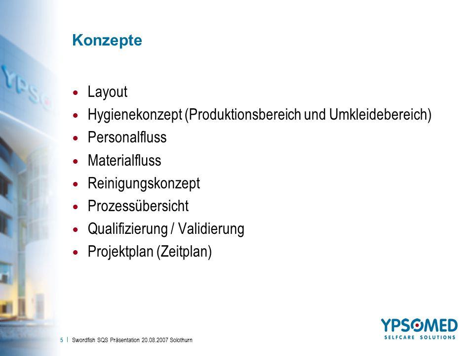 Swordfish SQS Präsentation 20.08.2007 Solothurn 5 Konzepte Layout Hygienekonzept (Produktionsbereich und Umkleidebereich) Personalfluss Materialfluss