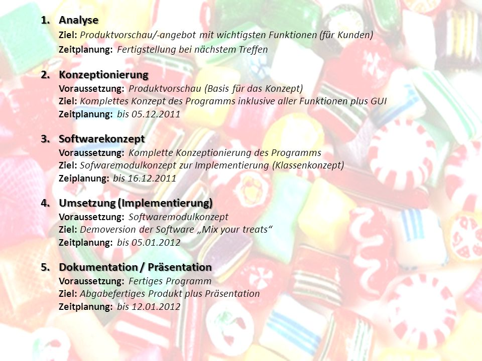 1.Analyse 1.Analyse Ziel: Produktvorschau/-angebot mit wichtigsten Funktionen (für Kunden) Zeitplanung: Fertigstellung bei nächstem Treffen 2.Konzepti