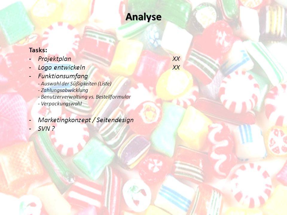Analyse Tasks: -Projektplan XX -Logo entwickeln XX -Funktionsumfang - Auswahl der Süßigkeiten (Liste) - Zahlungsabwicklung - Benutzerverwaltung vs. Be