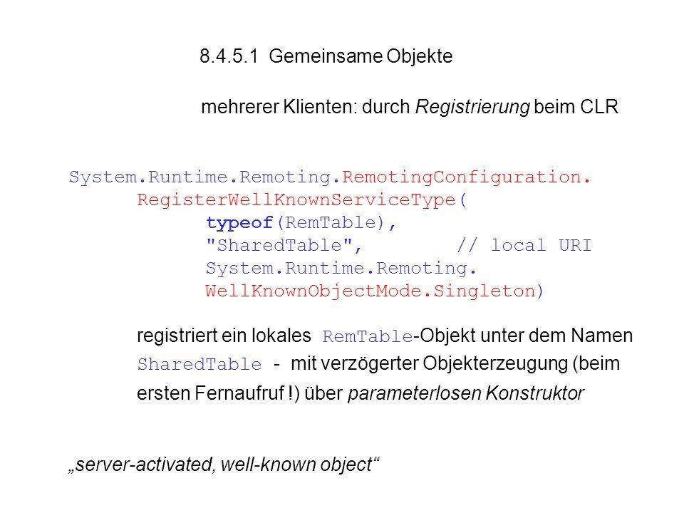 8.4.5.1 Gemeinsame Objekte mehrerer Klienten: durch Registrierung beim CLR System.Runtime.Remoting.RemotingConfiguration.