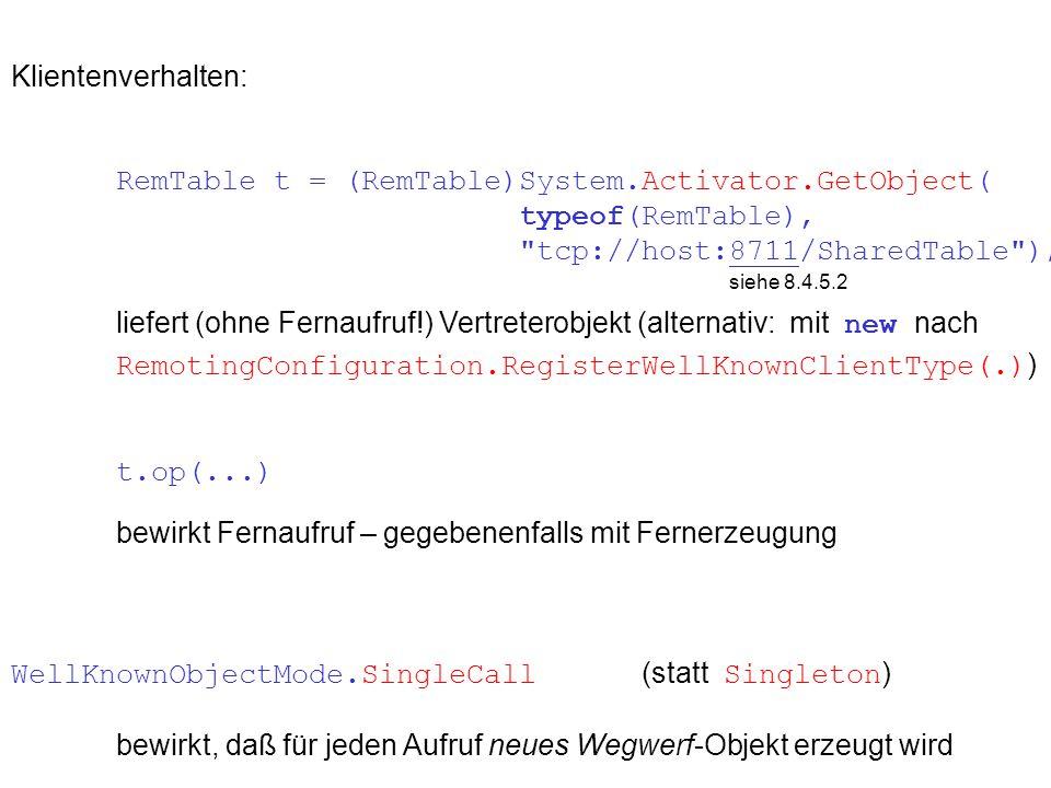 Klientenverhalten: RemTable t = (RemTable)System.Activator.GetObject( typeof(RemTable), tcp://host:8711/SharedTable ); siehe 8.4.5.2 liefert (ohne Fernaufruf!) Vertreterobjekt (alternativ: mit new nach RemotingConfiguration.RegisterWellKnownClientType(.) ) t.op(...) bewirkt Fernaufruf – gegebenenfalls mit Fernerzeugung WellKnownObjectMode.SingleCall (statt Singleton ) bewirkt, daß für jeden Aufruf neues Wegwerf-Objekt erzeugt wird