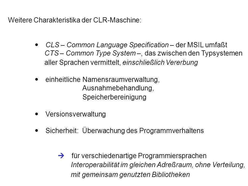 """8.4.2 Programmverwaltung Programmentwicklung mit.NET SDK (Befehlszeilen) oderVisual Studio.net Übersetzung produziert.dll- oder.exe-Dateien mit verwaltetem Code (managed code): - spezieller CLR Header - MSIL-Code - Schnittstellenbeschreibungen – """"unsichtbare IDL - weitere Metadaten Zusammengehörige Code-Dateien können zu einer Baugruppe (assembly)zusammengefaßt werden, die mit einer Bekanntmachung (manifest) beschrieben wird."""