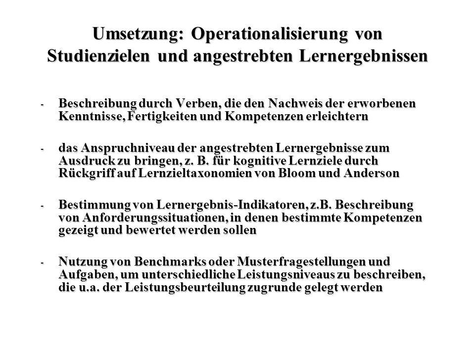 Umsetzung: Operationalisierung von Studienzielen und angestrebten Lernergebnissen - Beschreibung durch Verben, die den Nachweis der erworbenen Kenntni