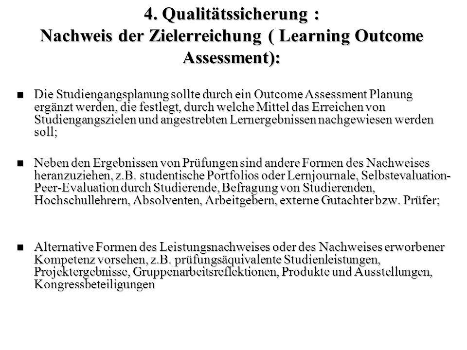 4. Qualitätssicherung : Nachweis der Zielerreichung ( Learning Outcome Assessment): Die Studiengangsplanung sollte durch ein Outcome Assessment Planun