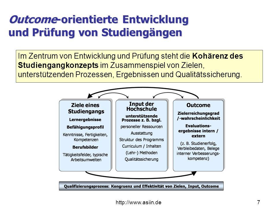 Outcome-orientierte Entwicklung und Prüfung von Studiengängen http://www.asiin.de7 Im Zentrum von Entwicklung und Prüfung steht die Kohärenz des Studi