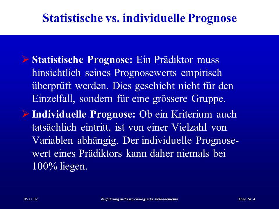 05.11.02Einführung in die psychologische MethodenlehreFolie Nr. 4 Statistische vs. individuelle Prognose  Statistische Prognose: Ein Prädiktor muss h