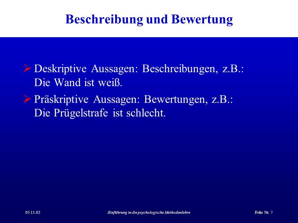 05.11.02Einführung in die psychologische MethodenlehreFolie Nr. 7 Beschreibung und Bewertung  Deskriptive Aussagen: Beschreibungen, z.B.: Die Wand is