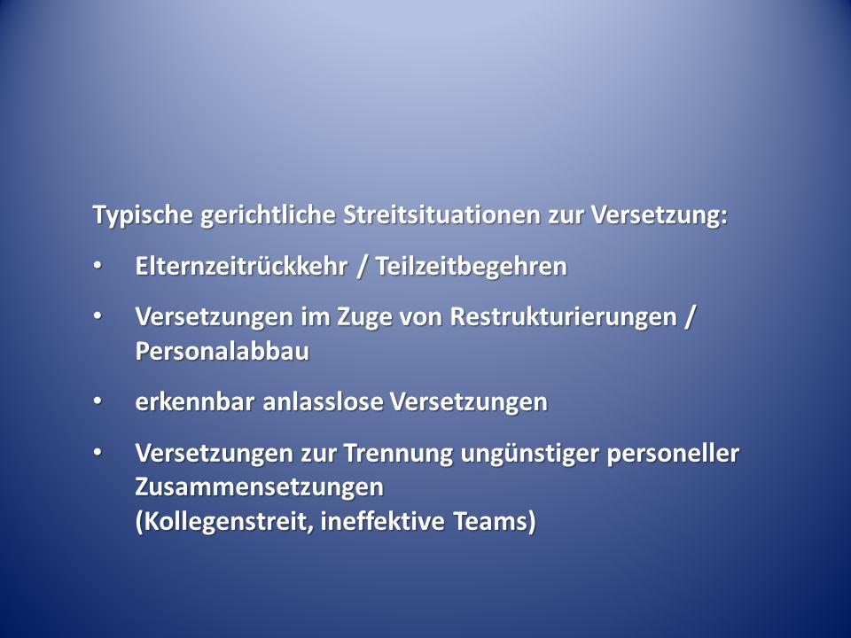 Versetzung: nur betriebsverfassungsrechtliche Definition in § 95 Abs.
