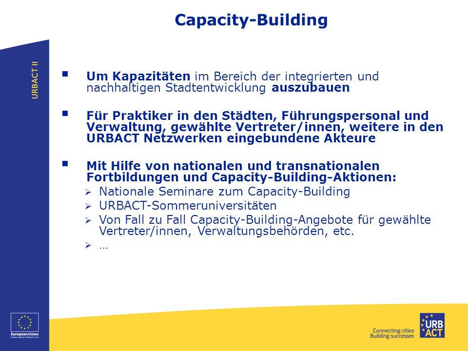 Capacity-Building  Um Kapazitäten im Bereich der integrierten und nachhaltigen Stadtentwicklung auszubauen  Für Praktiker in den Städten, Führungspe