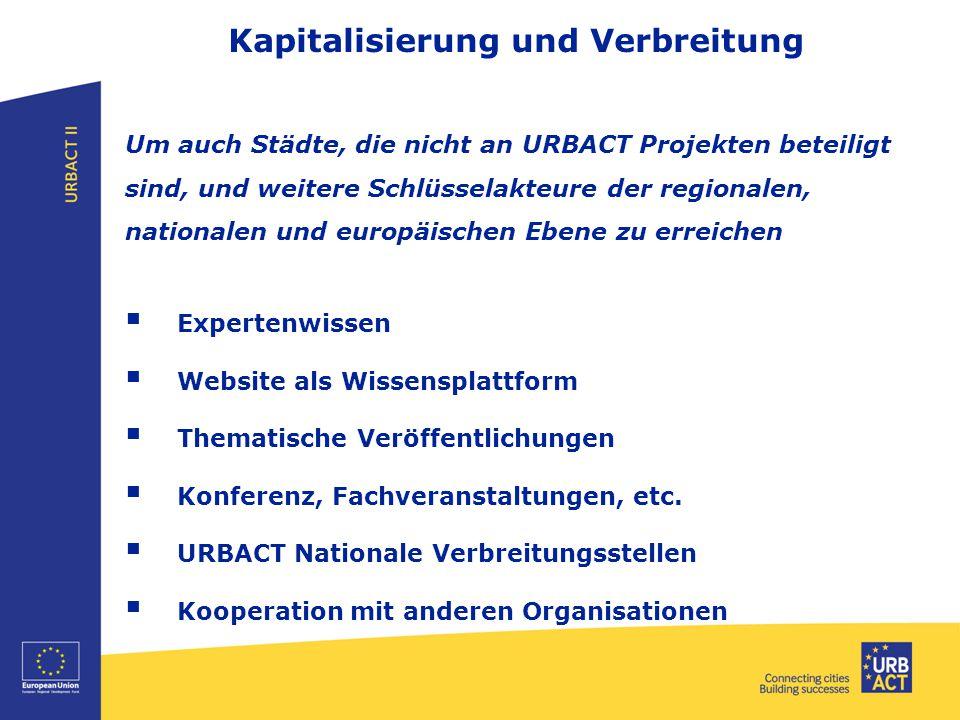 Kapitalisierung und Verbreitung Um auch Städte, die nicht an URBACT Projekten beteiligt sind, und weitere Schlüsselakteure der regionalen, nationalen und europäischen Ebene zu erreichen  Expertenwissen  Website als Wissensplattform  Thematische Veröffentlichungen  Konferenz, Fachveranstaltungen, etc.