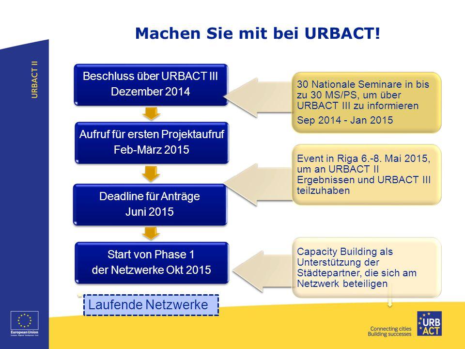 Machen Sie mit bei URBACT! Beschluss über URBACT III Dezember 2014 Aufruf für ersten Projektaufruf Feb-März 2015 Deadline für Anträge Juni 2015 Start