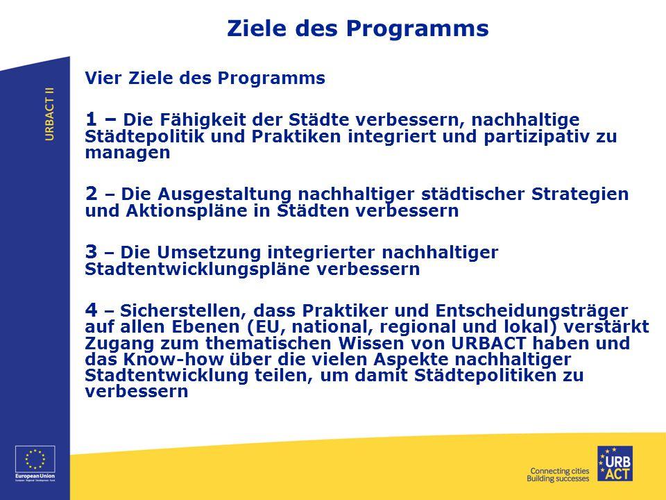 Ziele des Programms Vier Ziele des Programms 1 – Die Fähigkeit der Städte verbessern, nachhaltige Städtepolitik und Praktiken integriert und partizipa