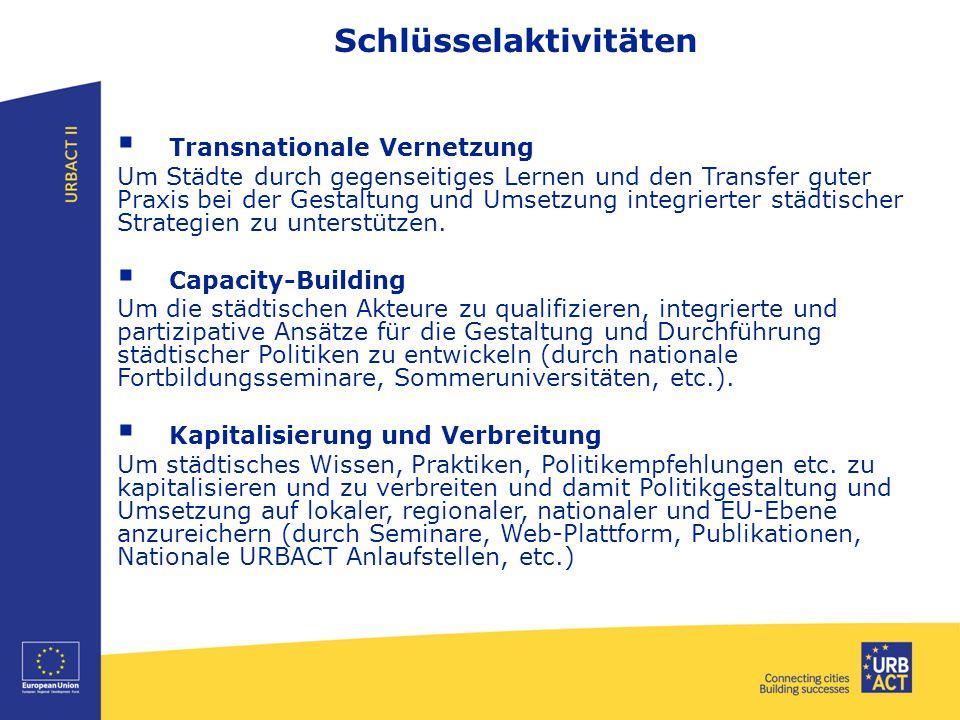 Schlüsselaktivitäten  Transnationale Vernetzung Um Städte durch gegenseitiges Lernen und den Transfer guter Praxis bei der Gestaltung und Umsetzung integrierter städtischer Strategien zu unterstützen.