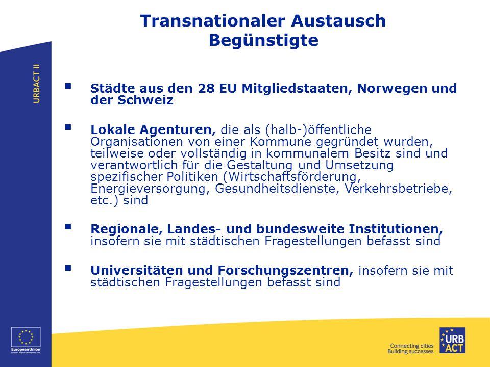 Transnationaler Austausch Begünstigte  Städte aus den 28 EU Mitgliedstaaten, Norwegen und der Schweiz  Lokale Agenturen, die als (halb-)öffentliche Organisationen von einer Kommune gegründet wurden, teilweise oder vollständig in kommunalem Besitz sind und verantwortlich für die Gestaltung und Umsetzung spezifischer Politiken (Wirtschaftsförderung, Energieversorgung, Gesundheitsdienste, Verkehrsbetriebe, etc.) sind  Regionale, Landes- und bundesweite Institutionen, insofern sie mit städtischen Fragestellungen befasst sind  Universitäten und Forschungszentren, insofern sie mit städtischen Fragestellungen befasst sind