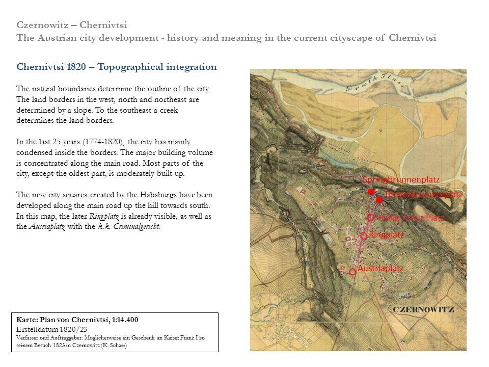 Die Lage: Chernivtsi liegt von drei Seiten topographisch eingebettet auf einer Anhöhe oberhalb des Pruth. Entsprechend dieser Gegebenheiten entwickelt