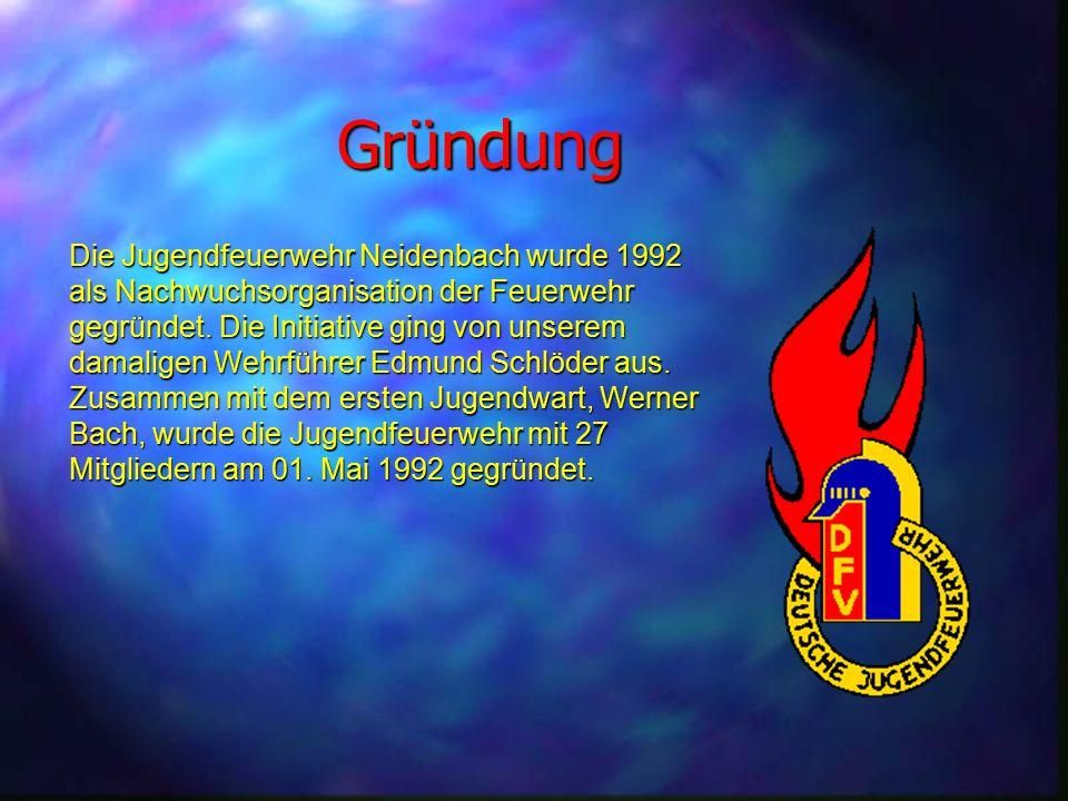 Gründung Die Jugendfeuerwehr Neidenbach wurde 1992 als Nachwuchsorganisation der Feuerwehr gegründet. Die Initiative ging von unserem damaligen Wehrfü