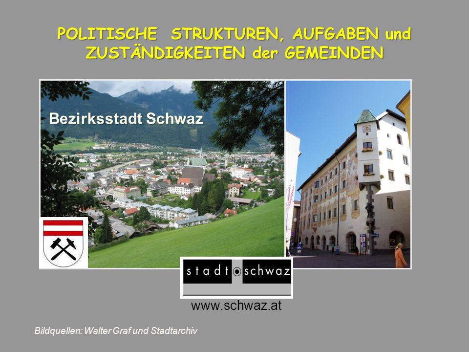 www.schwaz.at POLITISCHE STRUKTUREN, AUFGABEN und ZUSTÄNDIGKEITEN der GEMEINDEN Bezirksstadt Schwaz Bildquellen: Walter Graf und Stadtarchiv