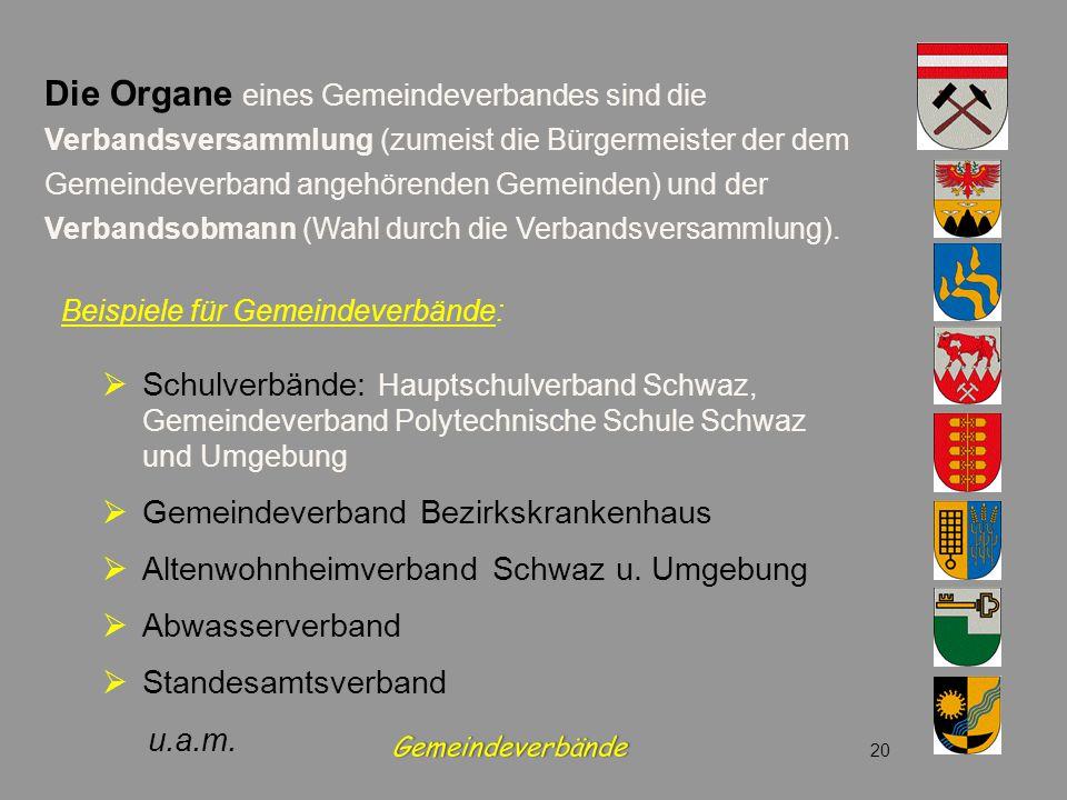 Beispiele für Gemeindeverbände:  Schulverbände: Hauptschulverband Schwaz, Gemeindeverband Polytechnische Schule Schwaz und Umgebung  Gemeindeverband