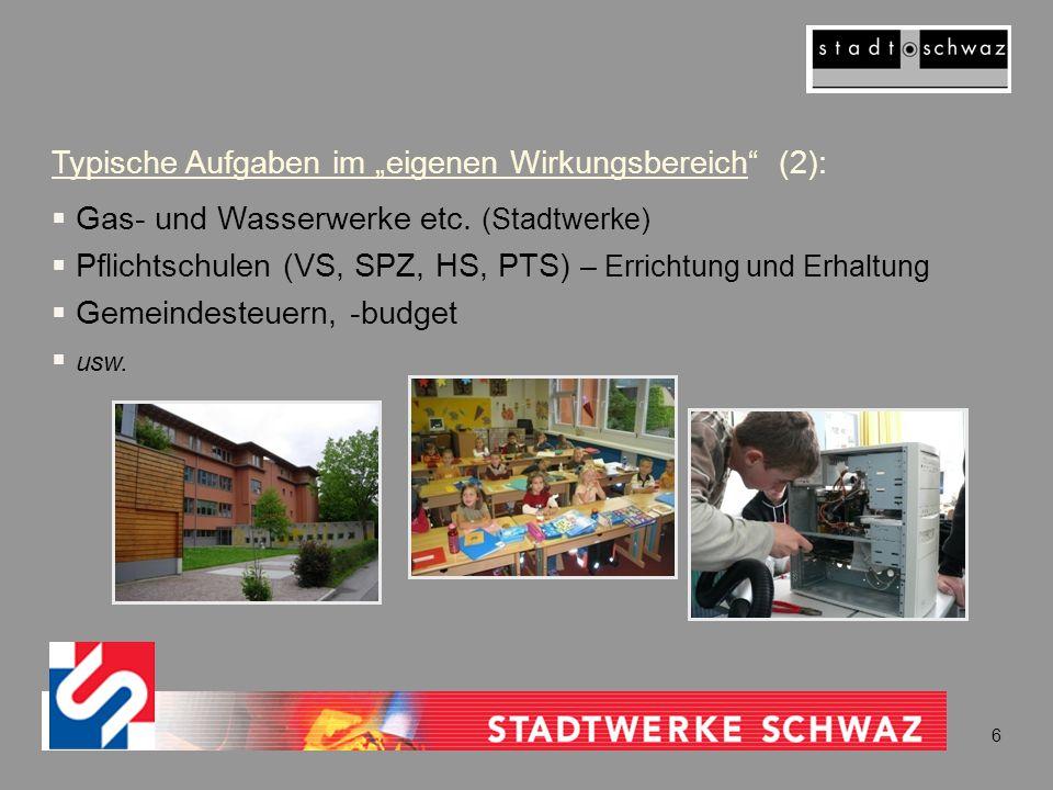 """Typische Aufgaben im """"eigenen Wirkungsbereich"""" (2):  Gas- und Wasserwerke etc. (Stadtwerke)  Pflichtschulen (VS, SPZ, HS, PTS) – Errichtung und Erha"""