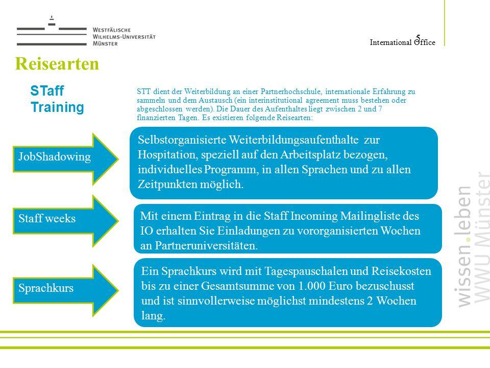 Reisearten 5 International Office Selbstorganisierte Weiterbildungsaufenthalte zur Hospitation, speziell auf den Arbeitsplatz bezogen, individuelles P