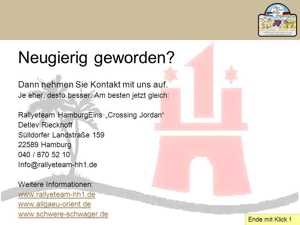 """Neugierig geworden? Dann nehmen Sie Kontakt mit uns auf. Je eher, desto besser. Am besten jetzt gleich: Rallyeteam HamburgEins """"Crossing Jordan"""" Detle"""