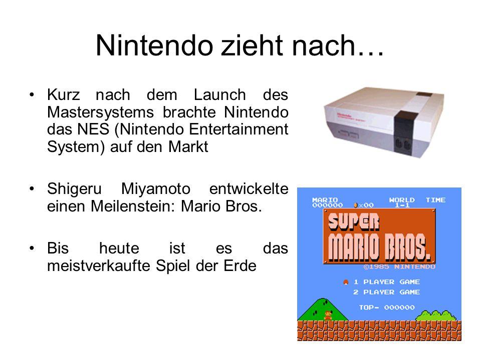 Nintendo zieht nach… Kurz nach dem Launch des Mastersystems brachte Nintendo das NES (Nintendo Entertainment System) auf den Markt Shigeru Miyamoto entwickelte einen Meilenstein: Mario Bros.
